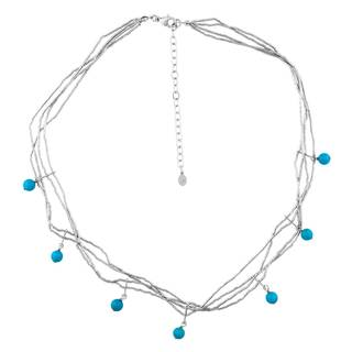 Sleeping Beauty Sterling Silver Turquoise Station Necklace - Blue