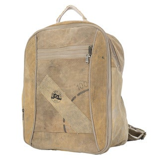 The Real Deal Brazil's Cercado Tan Recycled Cotton Canvas Backpack