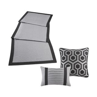 Madison Park Brooklyn Herringbone Bedscarf Dresser Topper/ Table Runner and Two Decorative Pillow Set