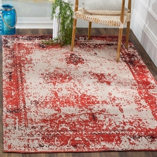 Safavieh Classic Vintage Red Cotton Abstract Distressed Rug (6' 7 x 9' 2)