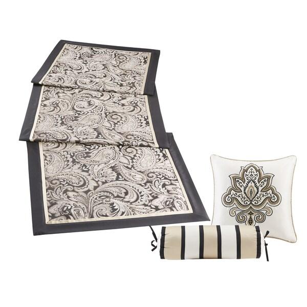 Madison Park Wellington Black Jacquard Bedscarf Dresser Topper/ Table Runner and Decorative Pillow Set