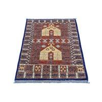 Wool Afghan Ersari Hand-knotted Prayer Design Rug (2' x 3'2)