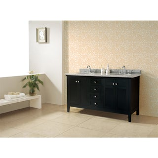 OVE Decors Reni Espresso Finish Wood and Granite 60-inch Double Sink Bathroom Vanity