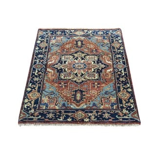 Antiqued Heriz Recreation Red Wool Hand-Knotted Oriental Rug (2'x3')