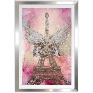 """BY Jodi """"Wings Of Paris Pink"""" Framed Plexiglass Wall Art"""
