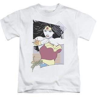 JLA/Ww 80S Minimal Short Sleeve Juvenile Graphic T-Shirt in White