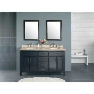 OVE Decors Malibu Brown Ceramic Wood 60-inch Double Bathroom Vanity