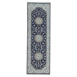 1800GetaRug Nain Blue/Multicolor Wool/Silk 300-knots-per-square-inch Oriental Runner Rug (2'8 x 8'1)
