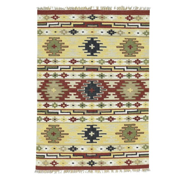 Hand-woven Wool Yellow/Red Anatolian Durie Kilim Flatweave Rug (4' x 6') - 4' x 6'