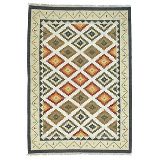 Anatolian Durie Kilim Ivory Wool Hand-Woven Flatweave Oriental Rug (6'4x9')