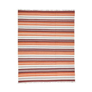 Hand-woven Orange/Burgundy Striped Wool Kilim Flatweave Oriental Rug (7'10 x 10')