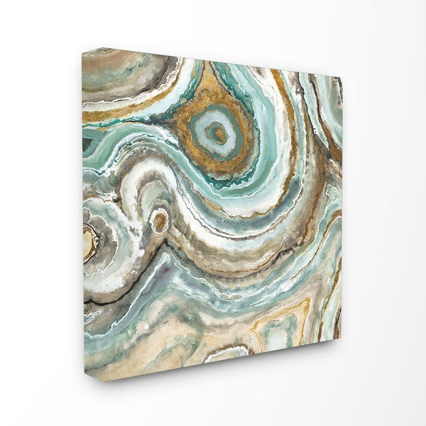 Shop Aqua Geode Stone Stretched Canvas Wall Art - On Sale - Free ...