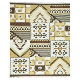 1800GetaRug Anatolian Durie Ivory/Beige/Brown/Gold/Grey/Black Hand-woven Flatweave Kilim Oriental Rug (8'3 x 10'2)