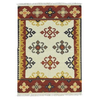 Anatolian Durie Kilim Ivory Wool Hand-Woven Flatweave Oriental Rug (4'4 x 6')