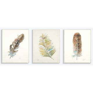Stupell 'Watercolor Feather' Wood Wall Plaque Art Set (Pack of 3)
