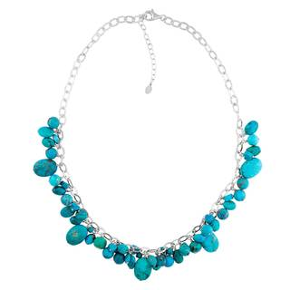 Sterling Silver Turquoise Nugget Necklace - Blue