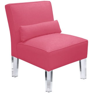 Skyline Furniture French Pink Upholstered Armless Chair with Acrylic Legs