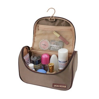Jacki Design Essential III Blue, Rose, and Brown Polyester Travel Cosmetic Bag With Hanger