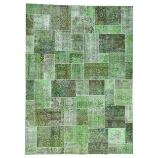 1800GetaRug Persian Overdyed Patchwork Green Hand-Knotted Carpet (10' x 13'9)