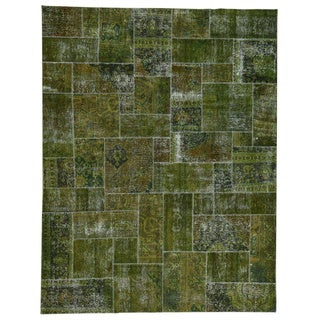 Persian Green Wool Overdyed Patchwork Hand-Knotted Wool Carpet (9'x11'7)