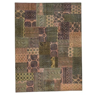 Persian Overdyed Brown Wool Afghan Patchwork Hand-knotted Rug (9' x 12')