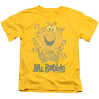 Mr Bubble/Classy Classic Short Sleeve Juvenile Graphic T-Shirt in Yellow