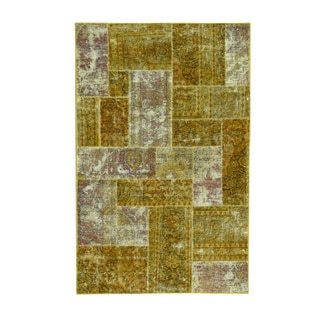 Persian Overdyed Gold Wool Patchwork Oriental Hand-knotted Carpet (5'1 x 8')
