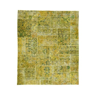 Persian Overdyed Yellow/Green Patchwork Hand-knotted Wool Carpet (8'3 x 10')