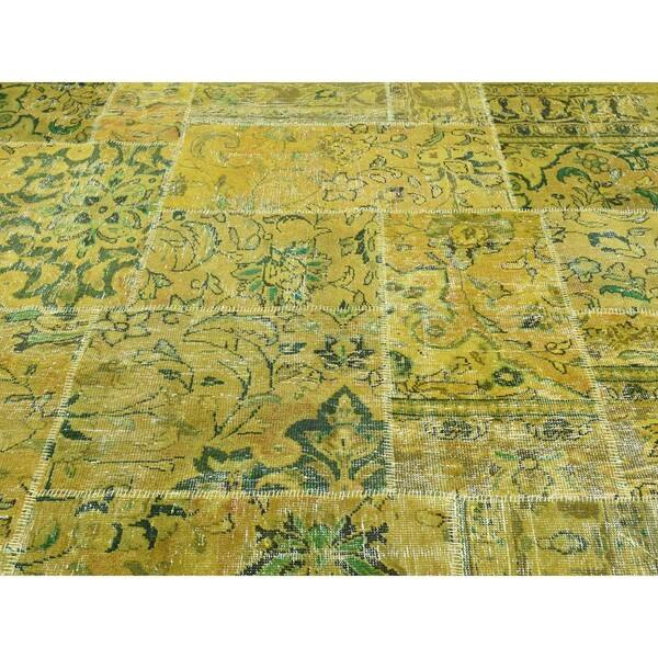 Persian Overdyed Yellow Green Patchwork Hand Knotted Wool Carpet 8 3 X 10 On Sale Overstock 12683631