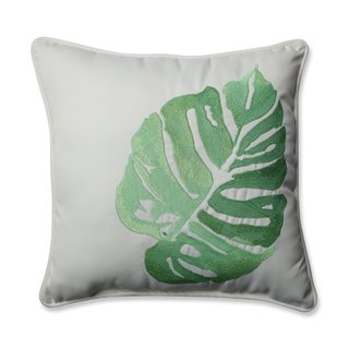 Pillow Perfect Outdoor/ Indoor Leaf Embroidery Green 18-inch Throw Pillow