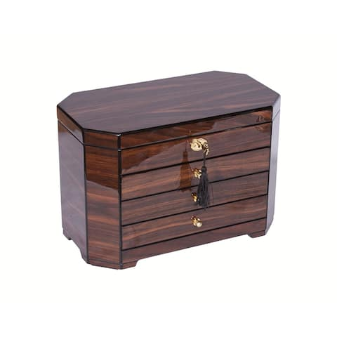Walnut Wood Veneer with Black Accents Locking Jewelry Chest