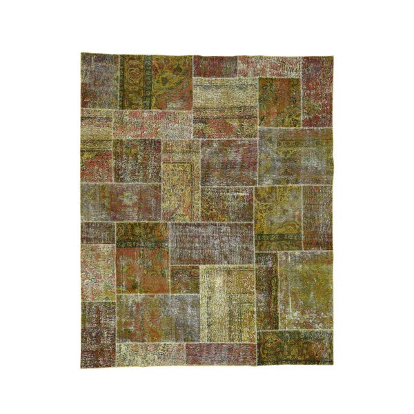 Shahbanu Rugs Persian Brown Wool Hand-knotted Overdyed Afghan Patchwork Rug (8' x 9'9) - 8' x 9'9