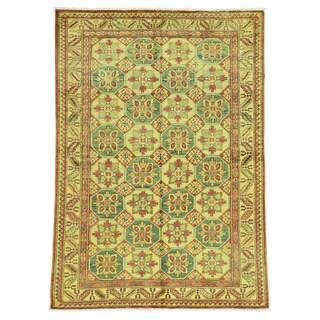 Gold Wool Overdyed Super Kazak Hand-Knotted Oriental Rug (4'9 x6'7 )