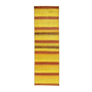 Peshawar Gabbeh Hand-Knotted Wool Runner Oriental Rug (2'7 x 8'3)