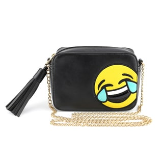 Olivia Miller 'LOL Tears' Emoji Faux Leather and Polyester Crossbody Camera Handbag