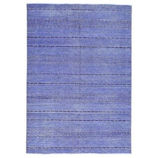 Purple Wool Hand-knotted Gabbeh Contemporary Oriental Rug (5'5 x 7'9)