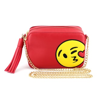 Olivia Miller 'Kiss Heart Emoji' Red Faux Leather/Polyester Crossbody Camera Handbag