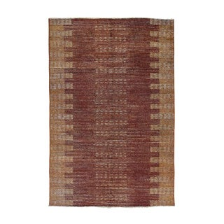 Burgundy Wool Hand-knotted Overdyed Gabbeh Oriental Carpet (5'5 x 8'2)