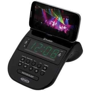 Jensen JCR295BK Black Bluetooth Clock Radio With Smartphone Holder