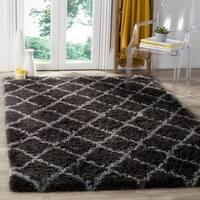 Safavieh Indie Shag Trellis Dark Grey/ Grey Polyester Rug - 6' 7 x 9' 2