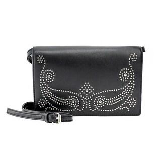 Olivia Miller 'Vania' Black Faux-leather Studded Crossbody Handbag