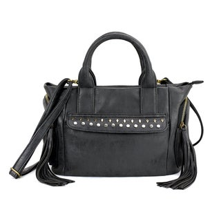 Olivia Miller 'Vivia' Multicolor Polyester/Faux Leather Multi-studded Satchel Bag