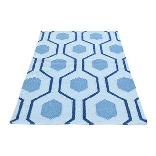 Hand-Woven Geometric Design Blue Wool Flatweave Reversible Kilim Rug (3'2 x5')