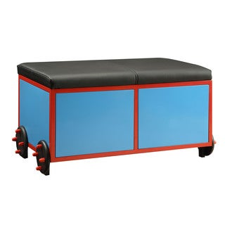 Tobi Blue, Red, and Black Upholstered Storage Bench