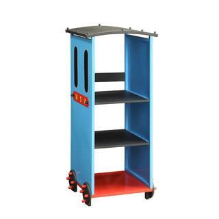 Tobi Kids Train Theme Blue Red Black Metal Mdf Bookcase