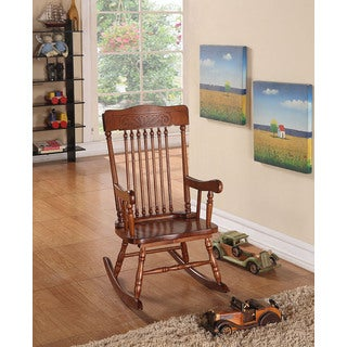 Kloris Brown Wood Youth Rocking Chair