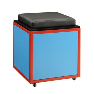Tobi Blue Train Theme Storage Ottoman