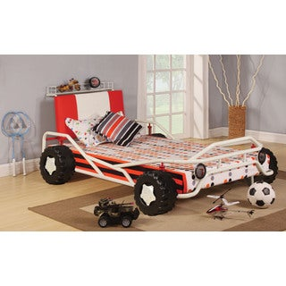 Carson White and Red Racing Car Twin Bed
