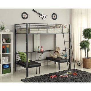 Hakem Black Metal Twin Loft Bed with Desk and Chairs