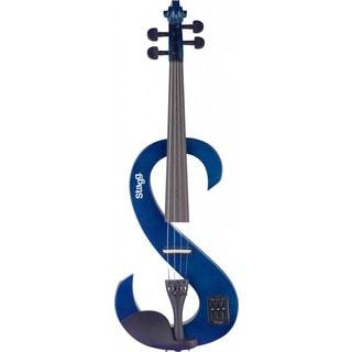 Stagg EVN 4/4 Transparent Blue Silent Violin Set With Soft Case and Headphones